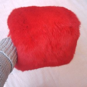 Vintage Hand Muff Deep Red Dyed Fur Winter Chic
